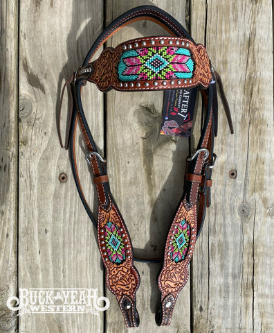 Rafter T Browband Headstall/Bridle- Beaded Inlay with Rose & Floral