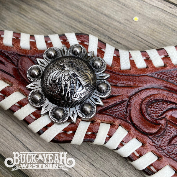 One Ear Headstall and breast collar set with floral tooling and barrel racer conchos.
