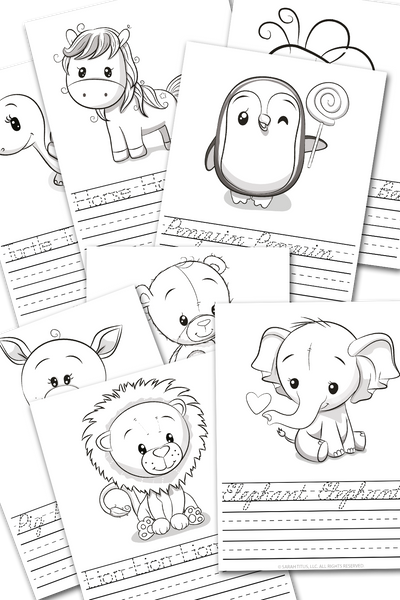 Animal Handwriting Practice Sheets - Print + Cursive