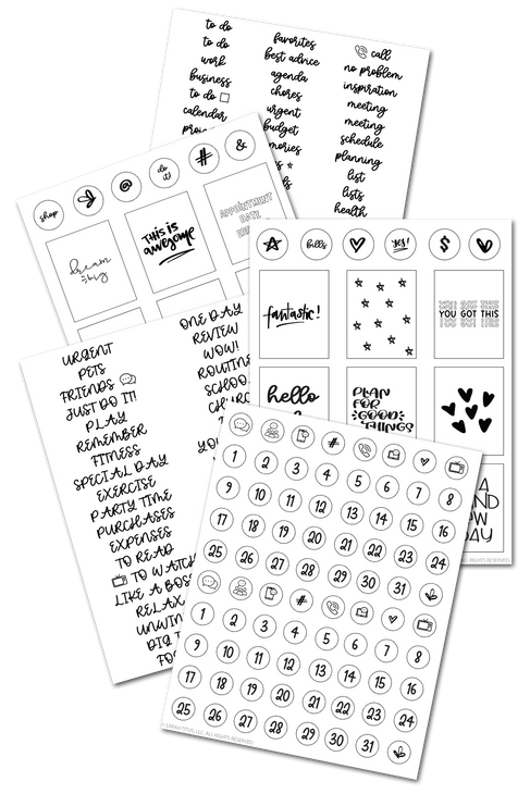 Black and White Planner Stickers