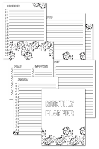 Monthly Planner - Coloring {15 Pages}
