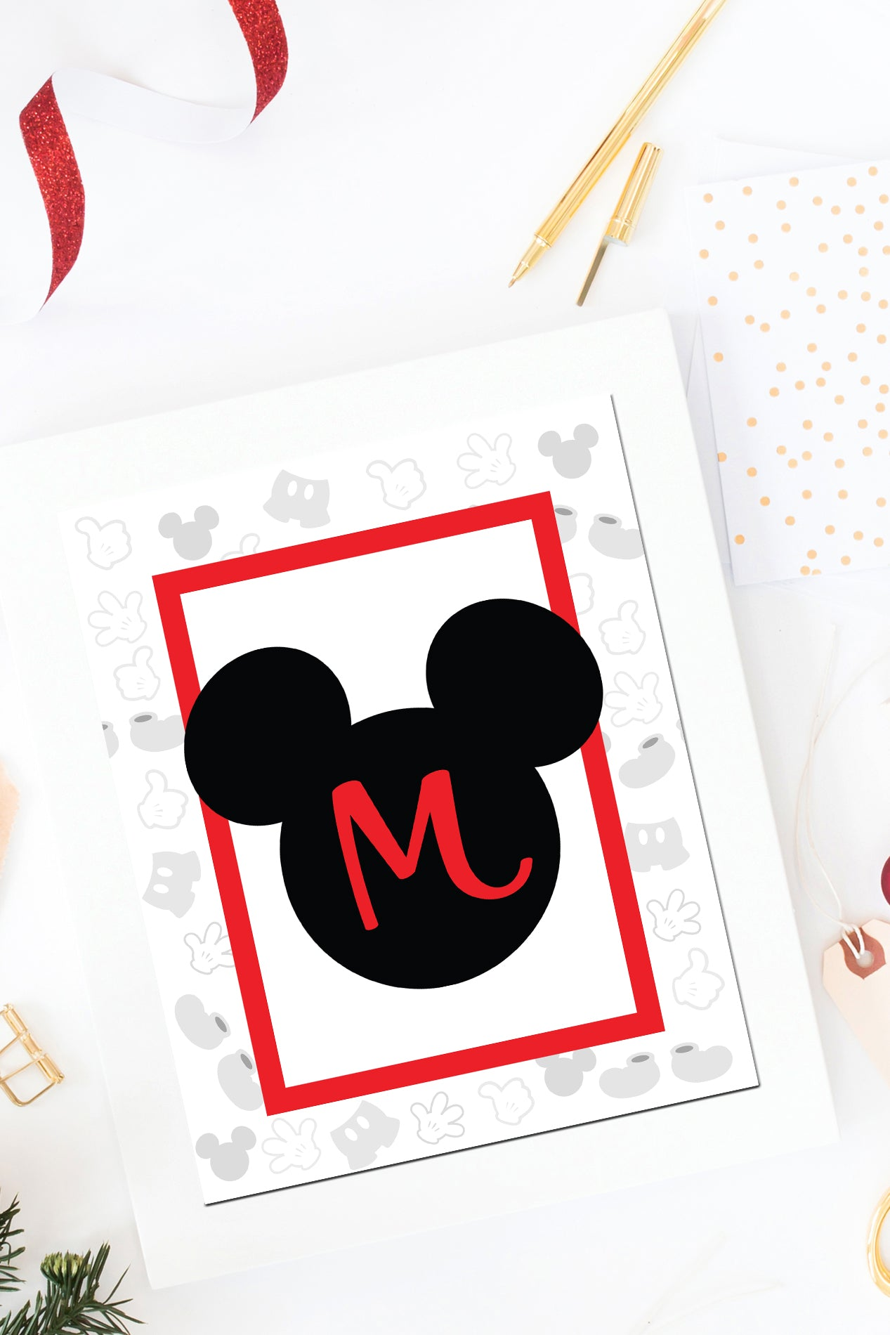 Mickey Mouse Monogram Wall Art Printables