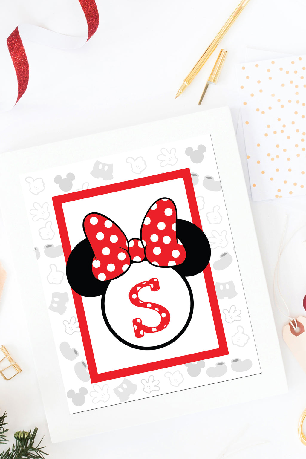 Minnie Mouse Monogram Wall Art Printables