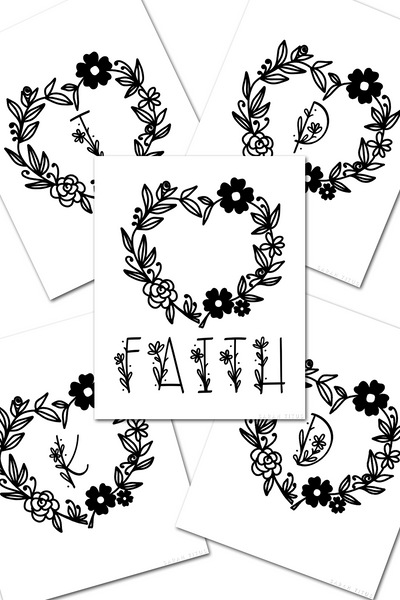 30 Monogram Colorable Flower Heart Wall Art Printables