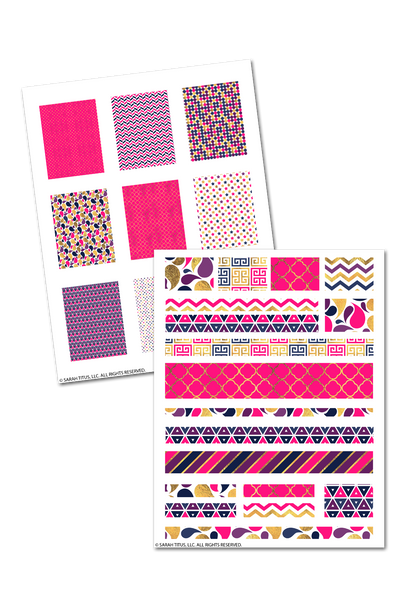 Pink & Gold Glam Planner Stickers, Washi Tape, Ribbons, and More