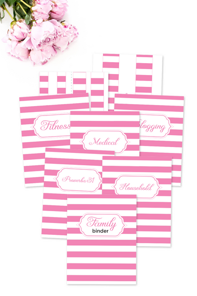 Pink Striped Binder Covers & Dividers Pack {36 pages}