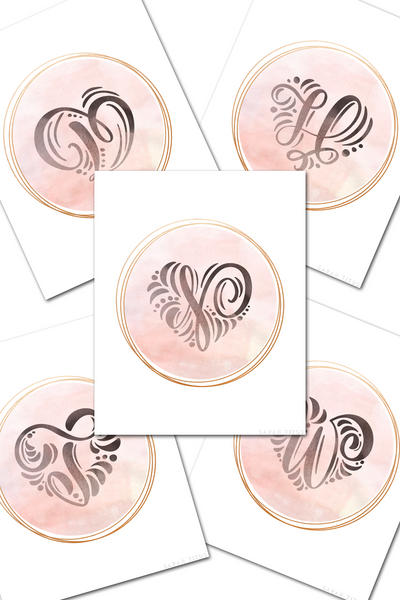 26 Rose Pink and Gold Monogram Wall Art Printables