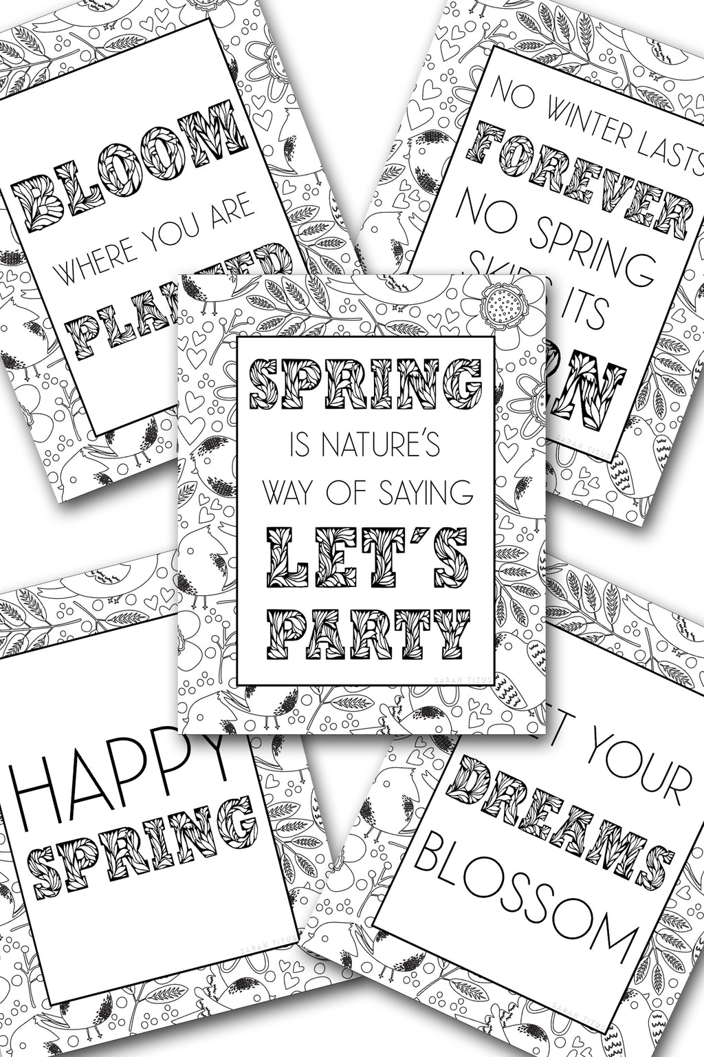 Spring Coloring Sheets Pack