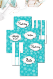 Teal Snowflake Binder Covers & Dividers Pack {36 pages}
