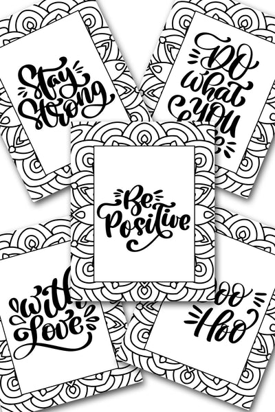 Be Positive Coloring Sheets Pack
