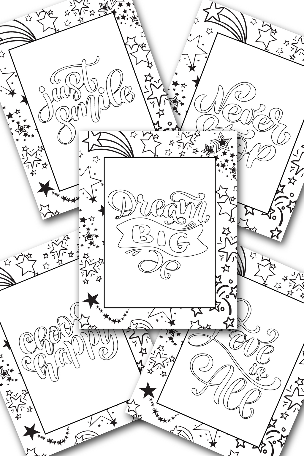 Happy Stars Coloring Sheets Pack