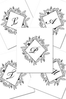 30 Monogram Colorable Diamond Flowers Wall Art Printables