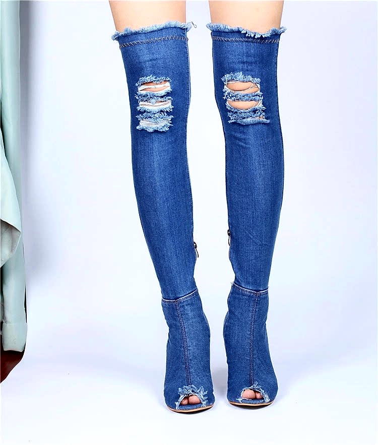 ??Distressed Denim? Peep-Toe Boots?? - Masstige Couture