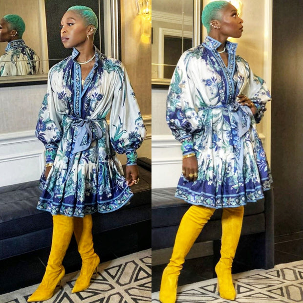 Cynthia Erivo A-Lined Ruffled Dress