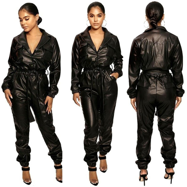 Trapeze Women's Black Faux Leather Bodycon Jumpsuit