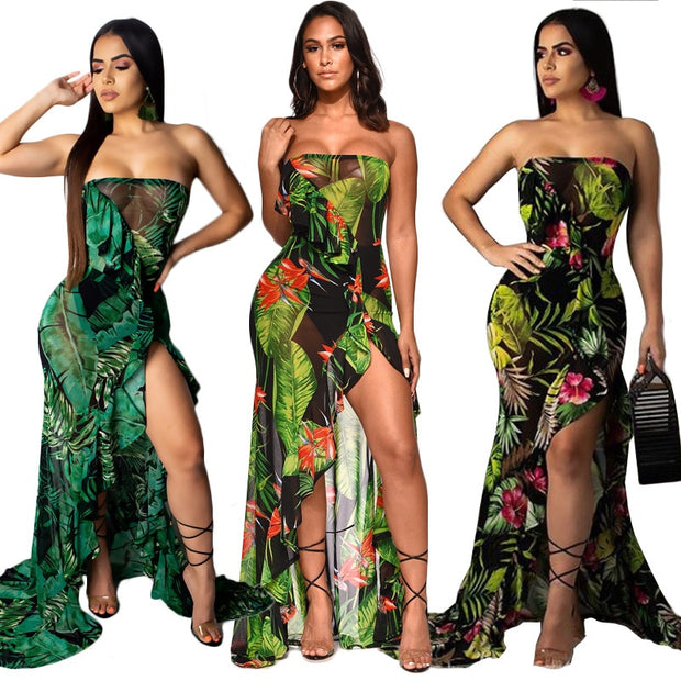 Queen Nzingha Off Shoulder Maxi Dress - Black/Green