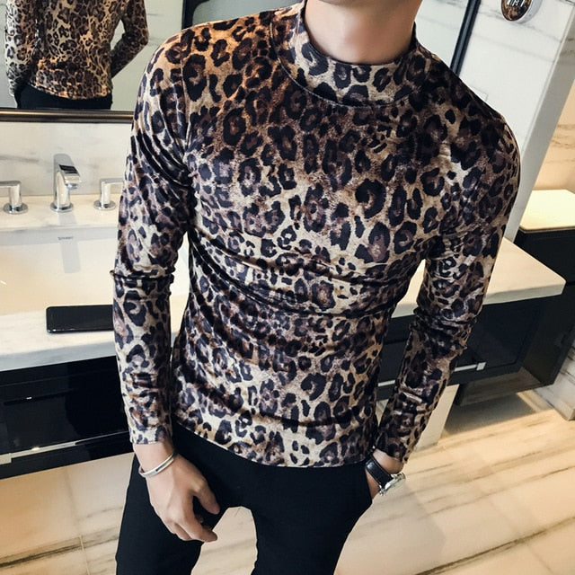 CHANGO | VELOUR MOCK-NECK CHEETAH SWEATER