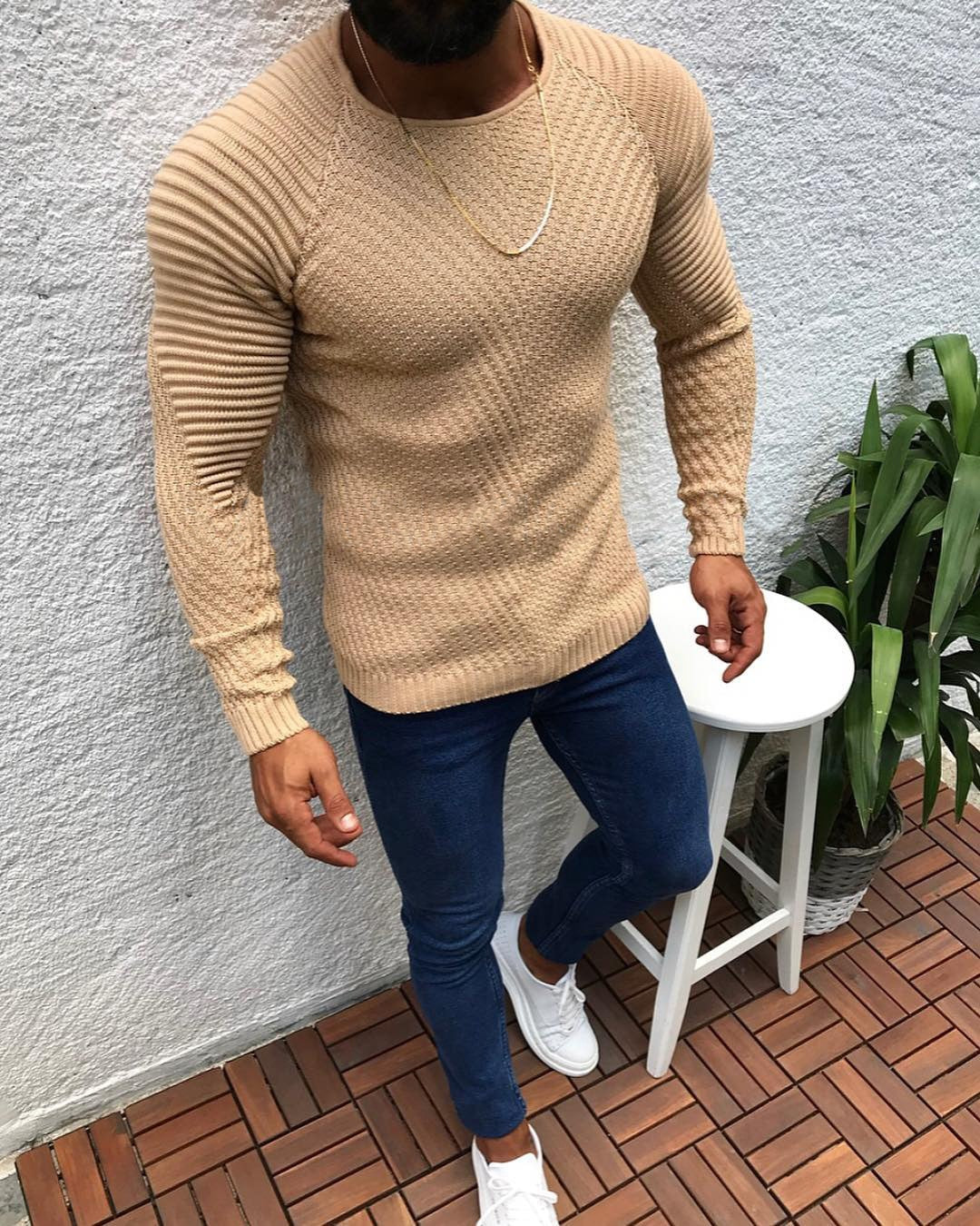 O4W | PATCHWORK FITTED WOOL SWEATER