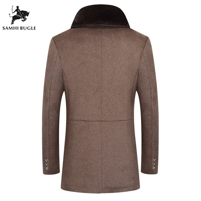 Mens Manteaux Homme Slim Fit Wool Coat