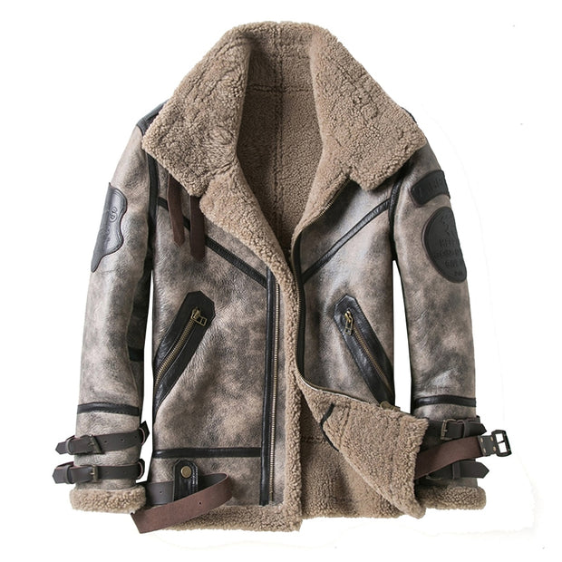 Rustic Sheepskin Fur Shearling Coat