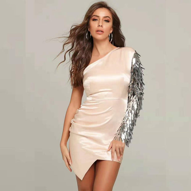 Lady Liberty Beige Sequin One Shoulder Satin Bodycon Dress