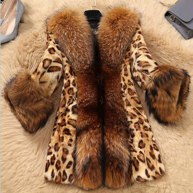 Stefani G. Womens Faux Fur Cheetah Medium Length Coat