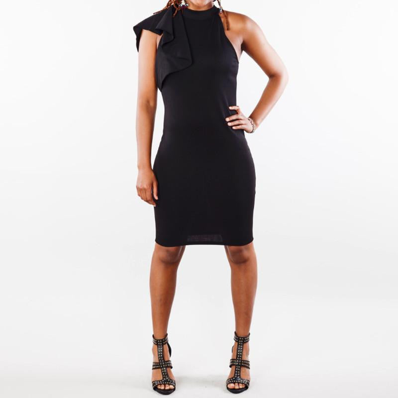Single Shoulder Flouncing Sleeve Pencil Dress - Masstige Couture
