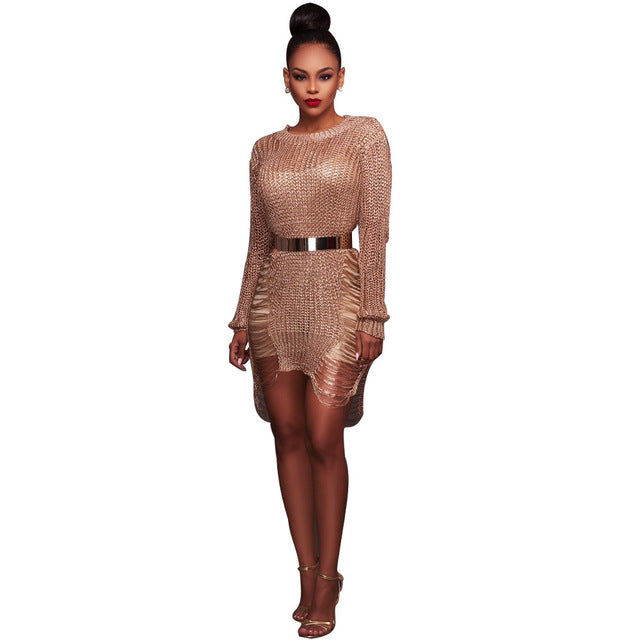 Royal Metallic Knitted Sweater Dress - Masstige Couture