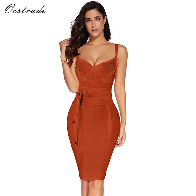 Ocstrade Women Bandage Dress 2017 Rayon Sleeveless Summer New Arrivals Sexy Deep v Neck Vestido Bodycon Bandage Dress Club Party - Masstige Couture