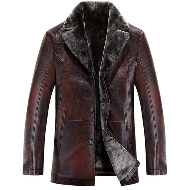 FRANCIS M.H. | LEATHER & FAUX FUR COAT