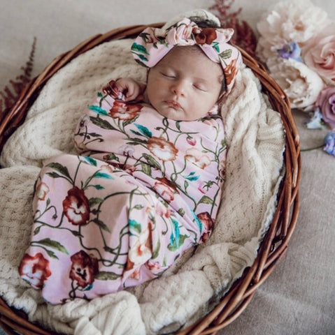 Pansy Swaddle Sack and headband
