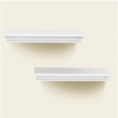 Surprising Lightstan Traditional Wood Floating Wall Shelf Set White Tray Decorative Ledge Of 2Pcs Download Free Architecture Designs Embacsunscenecom