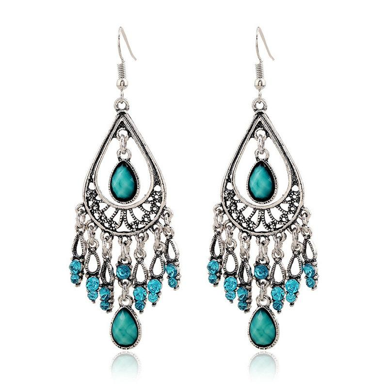 Beautiful Rhinestone Ethnic Gypsy Boho Drop Earrings ...