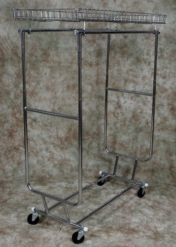 Portable Clothes Rack, Double Hang Rails with Top Shelf
