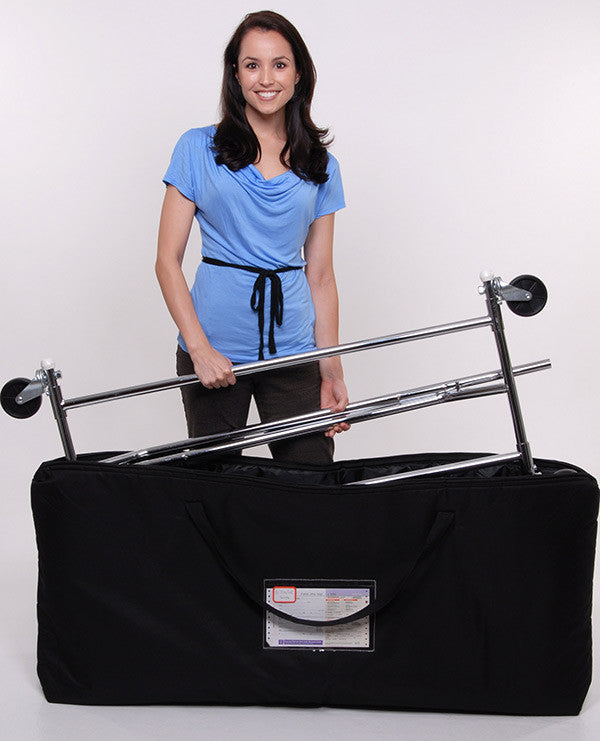Portable Collapsible Clothes Rack with Padded Travel Case