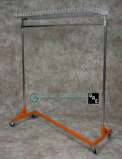 Z Garment Rack w/ Top Shelf, 5' Base, 5' to 6' Upright