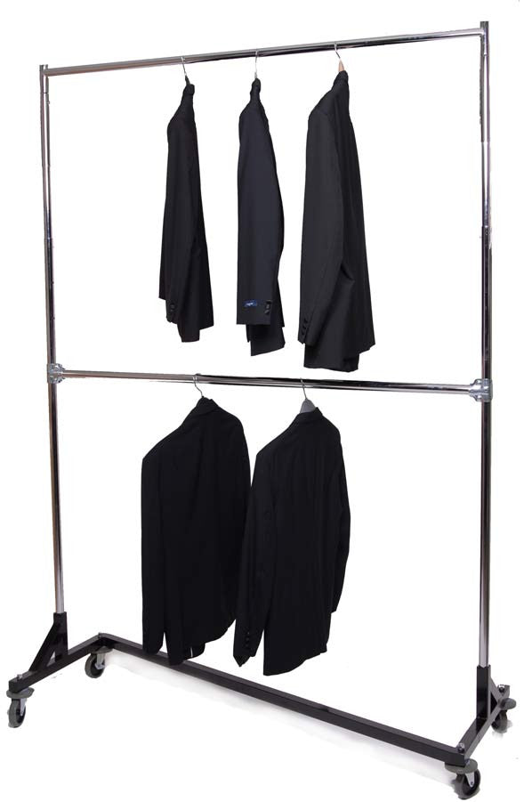Z Rack, 2 Tier Double, Clothes Garment Rack Up to 7 Ft Tall
