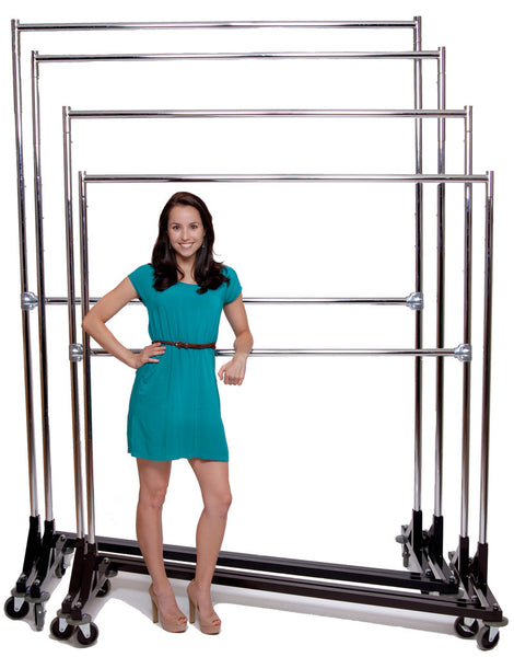 Z Rack, 2 Hang Rails, Up to 7-ft tall, 4 Height Settings 5-ft to 7-ft