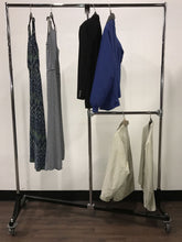 Hanging Clothes Rack, Double Rail Split Design, 4 Heights 5-ft to 7 Ft Tall