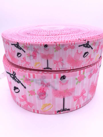 "Shocking Pink White Ombre 3/"" 2/"" 75mm 50mm Grosgrain Ribbon"