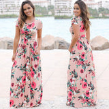 Floral Print Beach Dress Ladies White Maxi Evening Party Dress Sundress