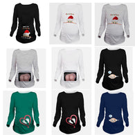 Women 3D T-Shirt Maternity Christmas Tees Long Sleeve Lovely Baby