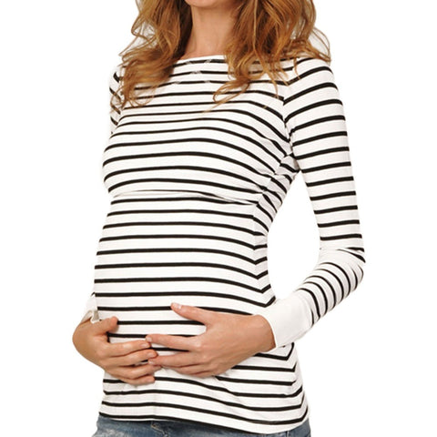 Womens Maternity Blouse Clothes Pregnant Nursing Baby Long Sleeved