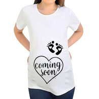 Women Pregnant Maternity Short Sleeve Letter Cartoon Print Tops Maternity Clothes Pregnancy