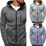 Men Classic Hoodies Sweatershirt Autumn Zipper Patchwork Cardigan Sweatershirt