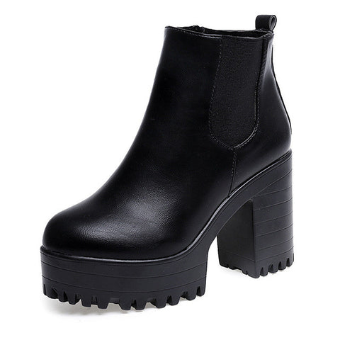 Women Boots Platform High Heels Ankle Boots Women Fashion Ladies Woman Size 35-40