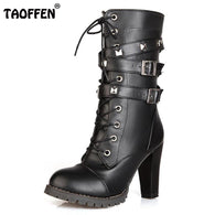 Women boots High heels Platform Buckle Zipper Rivets Lace up Leather boots Size 34-43