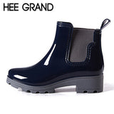 Boots Ladies Rubber Ankle RainBoots Low Heels Women Slip On Pumps Plus Size 36-41