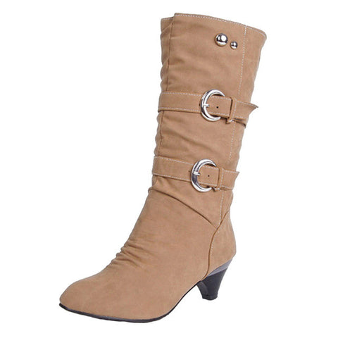 Women Boots Autumn Buckle Mid-Calf Boots Elegant Slip On Pumps For Ladies Size 35-39