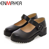Mary Jane Flats Shoes PU Leather Round Toe Casual Platform Shoes Women Ladies Flats Shoes